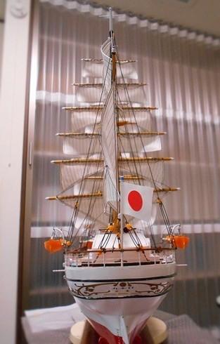 帆(スパンカー)のロープを張る。帆船模型1/80日本丸を作る.JPG